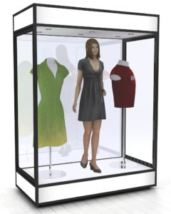 Rectangular mannequin glass display cabinets
